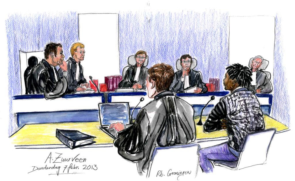 S. in de rechtbank (tekening: Annet Zuurveen)