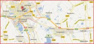 Links op de kaart bij Peize werd de sporttas gevonden. rechts bij Zuidbroek de romp